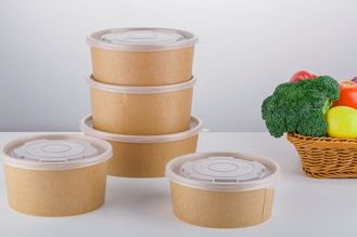 Custom Disposable Recyclable Paper Lunch Bowls With Lid For Hotel / Household